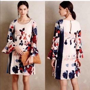 Anthropologie Maeve Bell Sleeved Floral Dress Sz S